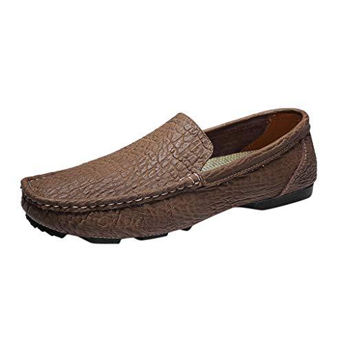 SCEMARK Mode Herren Einfarbig Runder Zeh nähen Flacher Absatz Flacher Mund Lederschuhe Freizeit Geschäft Erbsen Schuhe rutschfest Outdoor-Schuhe