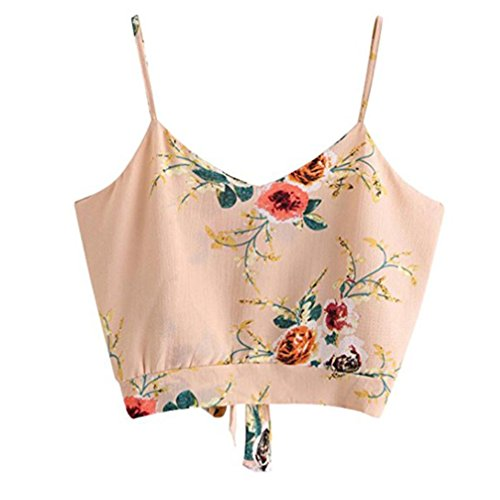 LuckyGirls Damen Cami Top Crop Tank Tops Ärmelloses T-Shirt Blumendruck Camisole Krawatte zurück V-Ausschnitt Sommer Weste (Rosa, EU-36/CN-S) -