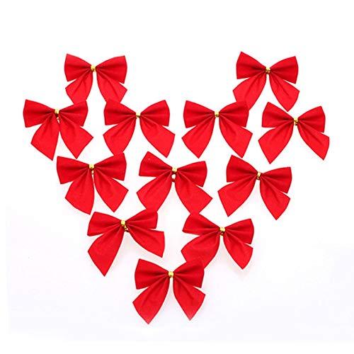 Weihnachtsgeschenk Jungen Weihnachten GiftsGirlPer 12 PCS Weihnachtsdekoration Ornamente Bowknot Zurück Goldene Twist Krawatte, Höhe: 6cm (12pcs in einer Verpackung, der Preis ist for 12pcs) (Rot) Ges