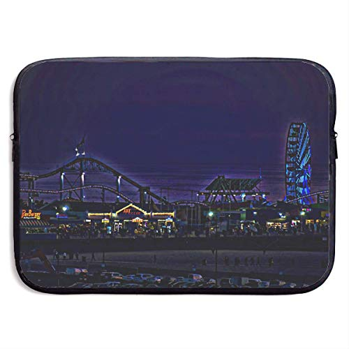 Benutzerdefinierte Laptop-Hülle 13/15 Zoll MacBook Reißverschluss Aktentasche Santa Monica Riesenrad drucken tragbare Umhängetasche, 15 Zoll - Stoff Santa Monica