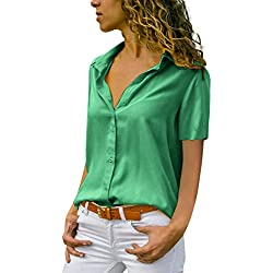 Lanskirt Camisa de Manga Corta con Cuello en V en Color Liso, Blusa Corta de Verano de Damas. Tops t Shirt Elegante Camisetas(Verde B, XXXXL)