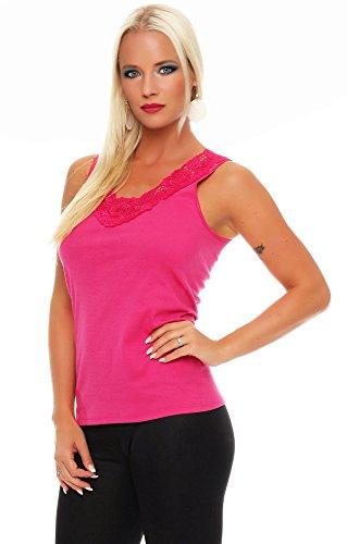 Hochwertiges Damen Träger-Top mit großer Spitze Nr. 416 (Oberteil / Unterhemd / Träger-Shirt) 100% Baumwolle ( Pink / 56/58 ) - 2