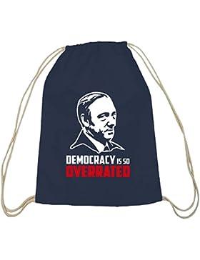 Shirtstreet24, HOC - Democracy Is So Overrated, Baumwoll natur Turnbeutel Rucksack Sport Beutel