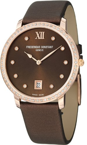 FREDERIQUE CONSTANT WOMEN'S 37MM BROWN SATIN BAND QUARTZ WATCH FC-220C4SD34