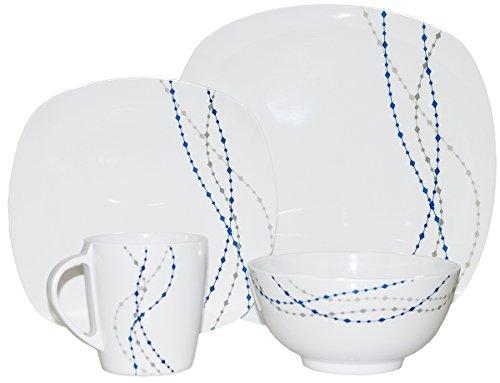 Line Weiß / Blau Eckig 24 tlg für 6 Personen Melamingeschirr Tafelgeschirr Geschirr-Set Camping Outdoor Garten Campinggeschirr Tafelservice Picknick