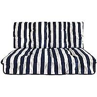 Tecnoweb - Remplacement complet, coussins et toit, pour balancelle 3places - 135 cm - Rayé blanc et bleu