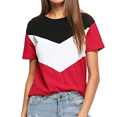 Short Sleeve Shirt for Women, BBestseller Casual Short Sleeve Top Woman Colorblock Custom Shirts Tunic Tops Blouse