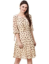 Georgette Printed Cream Color Dress