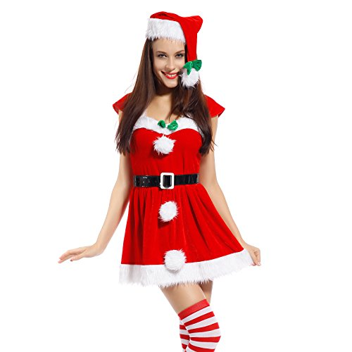 Kostüm Für Elf Frau (Sexy Weihnachtsmann Kostuem Kleiner Helfer Elfe Weihnachten Santa Weihnachtsfrau Damen)