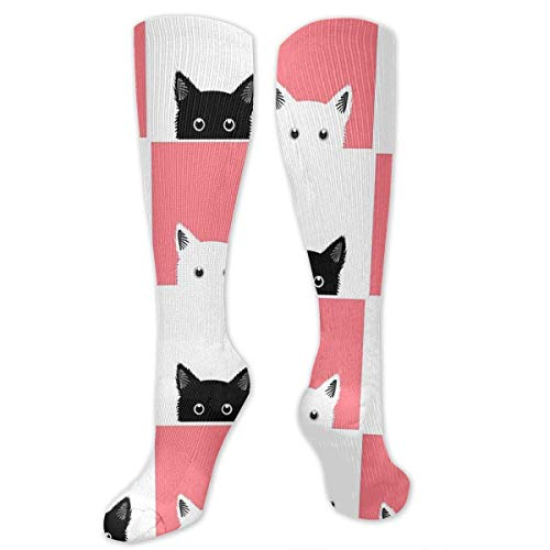 Jxrodekz Big Tall Casual Sports Socks for Men Black White Pink Cat Unisex Non Slip Boot Socks Long Stocking Women Training