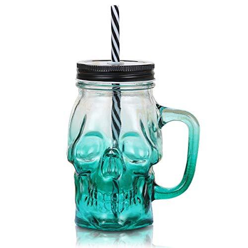 MHOYI 3D Totenkopf Glas Trinkglas mit Deckel und stabilem Strohhalm, gruseliges Halloween-Glas-Totenkopfglas, mit Griff, Farbiger Trinkhalmdeckel,