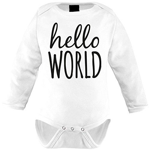 Mikalino Babybody Hello World Langarm, Farbe:Weiss;Grösse:56