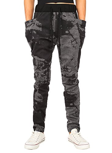 HEMOON Herren Traininghose Haremshose Sporthose Fitness Jogginghose Loose Crotch Hose Grau Camouflage M