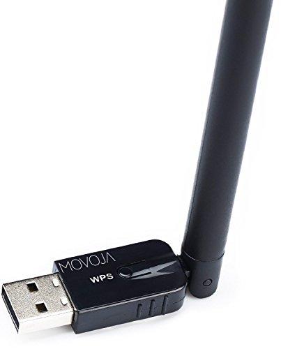 WLAN Stick mit 300 Mbit/s USB 2.0 USB-Stecker Plug & Play | NEUESTES MODELL | mit integriertem Signalverstärker | HIGH-Speed - MOVOJA schwarz - 2