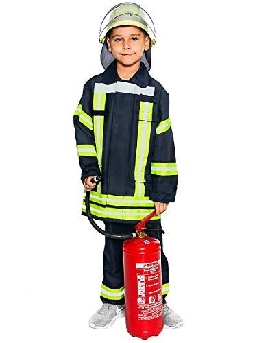 Kostüm Realistisch - Maskworld Realistische deutsche Feuerwehrmann-Uniform mit Jacke und Hose für kleine Löschmeister - Kinder-Kostüm - Verkleidung Anzug für Karneval Fasching & Halloween - Größe 164