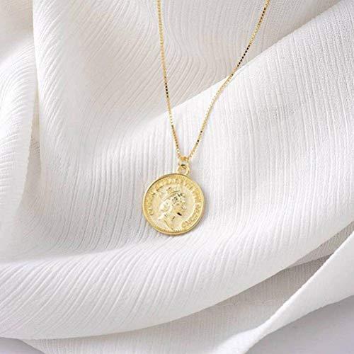 Katylen S925 Sterling Silber Münze Halskette Weibliche Retro-Goldmünze Anhänger Schlüsselbein Kette Medaille, Gold