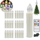 Hengda® 30 Stück Wasserdichte LED Weihnachtskerzen mit 7 verscheidene Lichtmodifikationen Weihnachtsbaumbeleuchtung inkl. Fernbedienung Kabellos