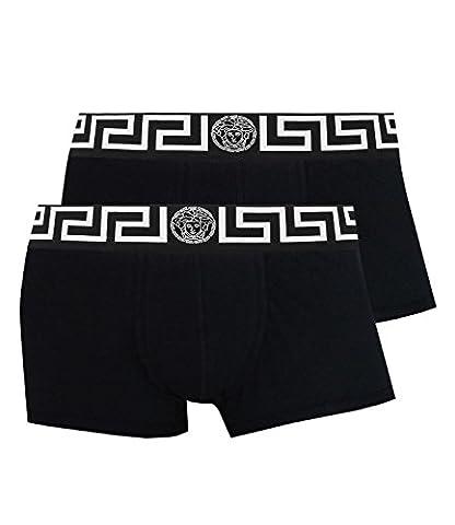Versace Boxershorts Shorts Low Rise Trunk Greca AU10181 2er Pack, Farbe:Schwarz, Wäschegröße:XL, Artikel:-A89C nero