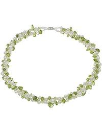 Treasurebay Collar multihilo de perlas negras naturales de agua dulce y trocitos de peridotita, presentado en caja de regalo