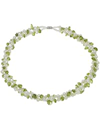 4415cbd26e3a Treasurebay Collar multihilo de perlas negras naturales de agua dulce y  trocitos de peridotita