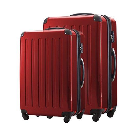 HAUPTSTADTKOFFER® 2er Hartschalen Kofferset · Koffer 87 Liter (63 x 42 x 28 cm) + Koffer 130 Liter (75 x 52 x 32 cm) · Hochglanz · TSA Zahlenschloss · SILBER Rot