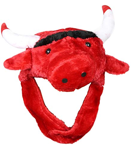 Petitebelle Weiche, rote Schafsmütze für Partykleidung, Unisex, Stier-Motiv, Einheitsgröße Gr. One size, rot