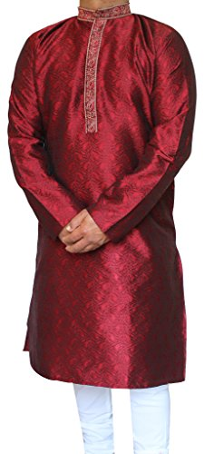 Maple Vêtements Hommes Kurta Pajama Party Jacquard De Soie Indienne Wear