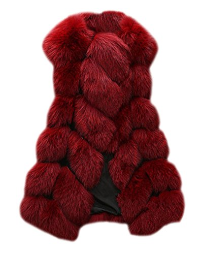 Damen Jacke Warm Weste Faux Pelz Lang Felljacke Stitching Oberteile Burgunderrot XXL (Weste Fell Damen)