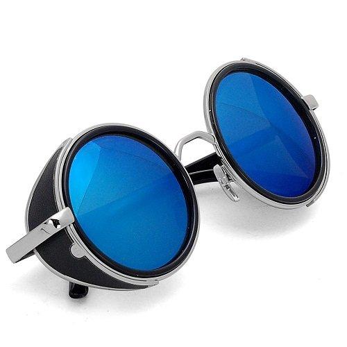 Occhiali tondi, stile steampunk vintage anni 50, montatura argento e nera, Uomo, Navy Blue