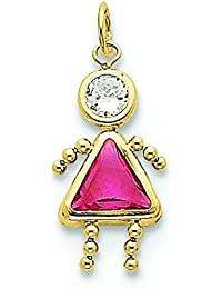 10k Yellow Gold October Girl Birthstone Charm - Higher Gold Grade Than 9ct Gold