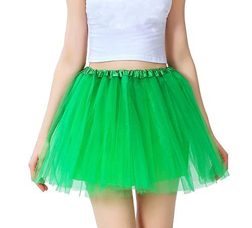 Tutu Damen Tüll Rock Tüllrock 50er 80er Kurz Ballet 3 Layers Tanzkleid Unterröcke Trachtenröcke Zubehör für Frauen Mädchen, 7 Farben (Grün)