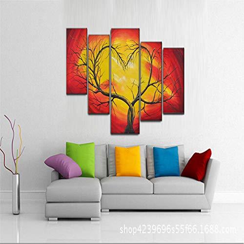 YIWAN Corredor casero Creativo Pintura al óleo Cinco o Dos árboles Enredados...