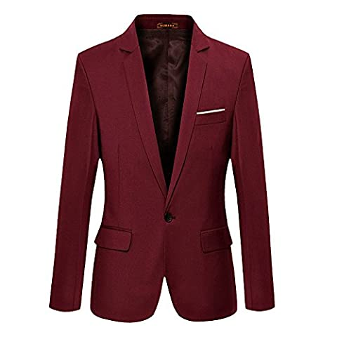 VOBAGA Men's Slim Fit Stylish Casual One Button Thin Suit