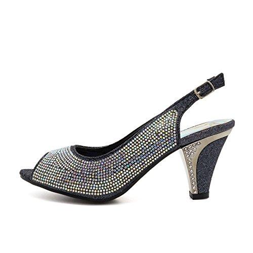 London Footwear ,  Damen Peep Toes Schwarz