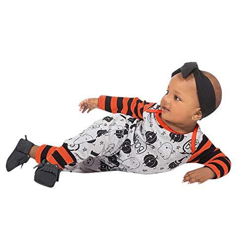 LEXUPE Säuglingsbaby-Jungen-Kürbis-Druck-Spielanzug-Overall-Streifen-Halloween-Ausstattungen(Grau,90)