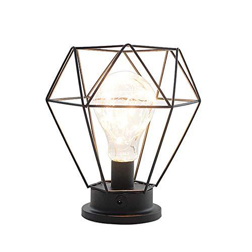 Vintage Metall Tischlampe Industrielles Käfig-Art-Schreibtisch-Licht Batteriebetriebene Nachttisch- und Tischlampen Für Wohnzimmer Schlafzimmer Büro Schwarz - Open-style Schreibtisch