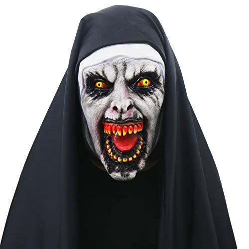 onne Horror Maske Integralhelm Halloween Nonne Kostüm Halloween Party Zubehör ()