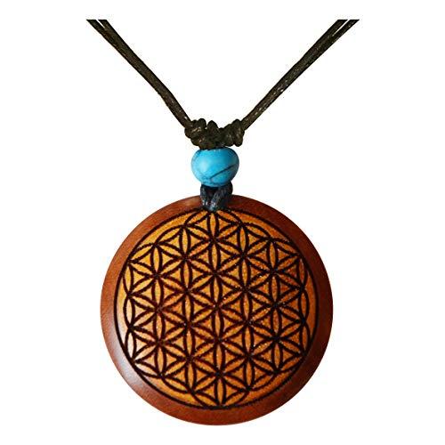 Chic-Net Damen Herren Holzkette mit Türkis Stein Baumwolle Holz Anhänger in rund rotbraun - verstellbar - mit Motiv Blume des Lebens