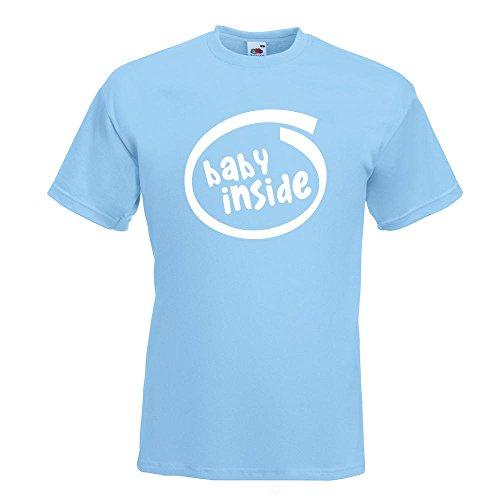 KIWISTAR - Baby inside T-Shirt in 15 verschiedenen Farben - Herren Funshirt bedruckt Design Sprüche Spruch Motive Oberteil Baumwolle Print Größe S M L XL XXL Himmelblau