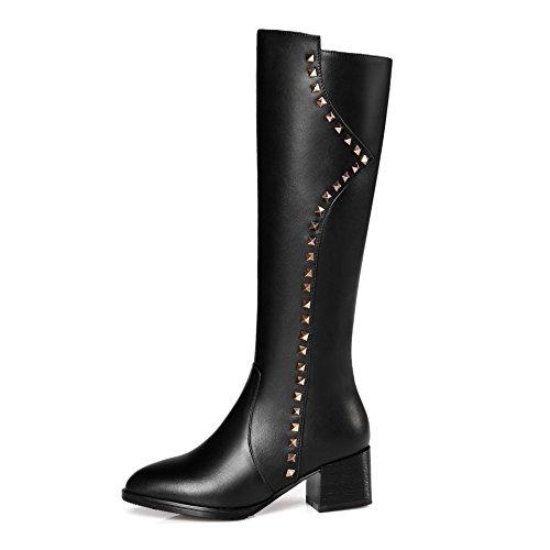 QIN&X Donne lunghi stivali con colori solidi di grandi dimensioni testa rotonda a caldo del ginocchio di grandi dimensioni Black