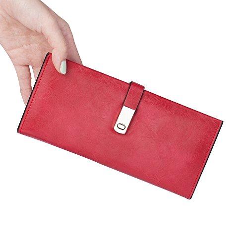 """JINYJIA, borsa in pelle mini, borsa per piccoli messaggi, portafogli donna, porta carte tasca con cerniera, 7.6 """"x 3.5"""", nero vino rosso"""