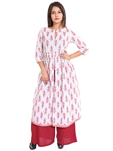 Teej Red White Floral Printed Indo-Western Desigenr Princess Cut Front Slit Cotton Anarkali Kurti With Maroon Rayon Palazzo Readymade Set For Women's  available at amazon for Rs.1199