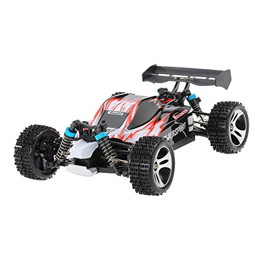 FiedFikt A959 Upgraded 540 Brush Motor High Speed 50km/h 1:18 4D 2.4G RC Car Remote Control Car Toys Construction Buggy Toys (Red)