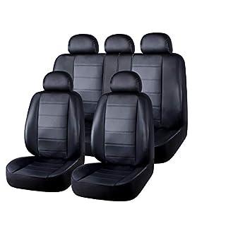 AUTO HIGH Auto-Sitzbezüge Set Universal - Schwarz Auto-Schonbezüge für die Vordersitze & Rückbank mit Airbag - Kunsleder Autositz Schutzbezug Komplett-Set, 11-teilig, TY1795
