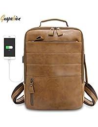 d0da673c7c88 PALAY Guapabien USB Charging Men Laptop Backpack Male Travel Soft PU  Leather Bag (Black)