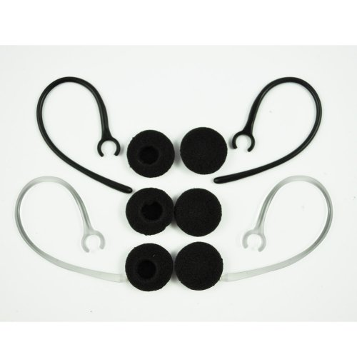 TOOGOO (R) Gancio dell'orecchio kit ricambi per cuffie auricolari bluetooth 2 neri e 2 trasparenti clip ( 6 foam buds)