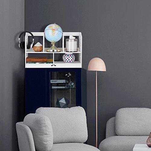 Finether kleines Regal Bücherregal Aufsatzregal Aufbewahrungsregal Tisch-Organizer für Wohnzimmer Badezimmer zur Aufbewahrung von BücherDekoartikel Toilettenartikel Kosmetik aus WPC wasserdicht 60 x 22 x 38 cm weiß - 5