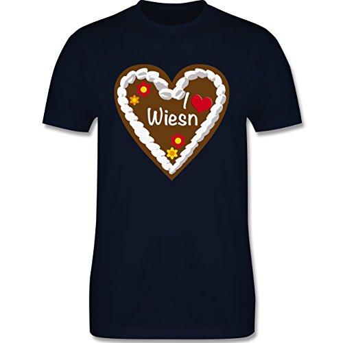 Oktoberfest Herren - Lebkuchenherz I love Wiesn München - Herren Premium T-Shirt Navy Blau