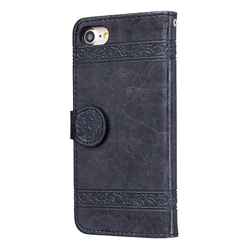 """MOONCASE iPhone 7 Coque, [Style Rétro] Durable PU Cuir Flip Housse TPU Souple Anti-dérapante Shock Absorption Protection Etui Case pour iPhone 7 4.7"""" Or Noir"""