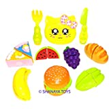 Realistic Sliceable Cutting Play Kitchen Set Toy With Burger, Pastries For Kids - 11 Pcs Set (Multi Color)